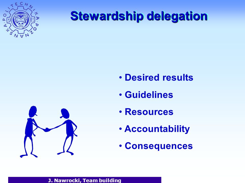 J. Nawrocki, Team building Stewardship delegation Desired results Guidelines Resources Accountability Consequences