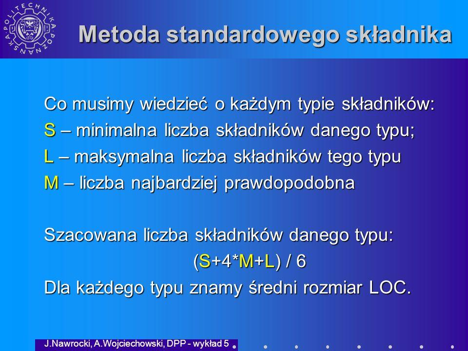 J.Nawrocki, A.Wojciechowski, DPP - wykład 5 Plan wykładu Przypomnienie metod intuicyjnychPrzypomnienie metod intuicyjnych Rola pomiarów w modelach dojrzałościRola pomiarów w modelach dojrzałości Metoda wartości rozmytychMetoda wartości rozmytych Metoda standardowego składnikaMetoda standardowego składnika PSP-0: Proces podstawowyPSP-0: Proces podstawowy PodsumowaniePodsumowanie Przypomnienie metod intuicyjnychPrzypomnienie metod intuicyjnych Rola pomiarów w modelach dojrzałościRola pomiarów w modelach dojrzałości Metoda wartości rozmytychMetoda wartości rozmytych Metoda standardowego składnikaMetoda standardowego składnika PSP-0: Proces podstawowyPSP-0: Proces podstawowy PodsumowaniePodsumowanie