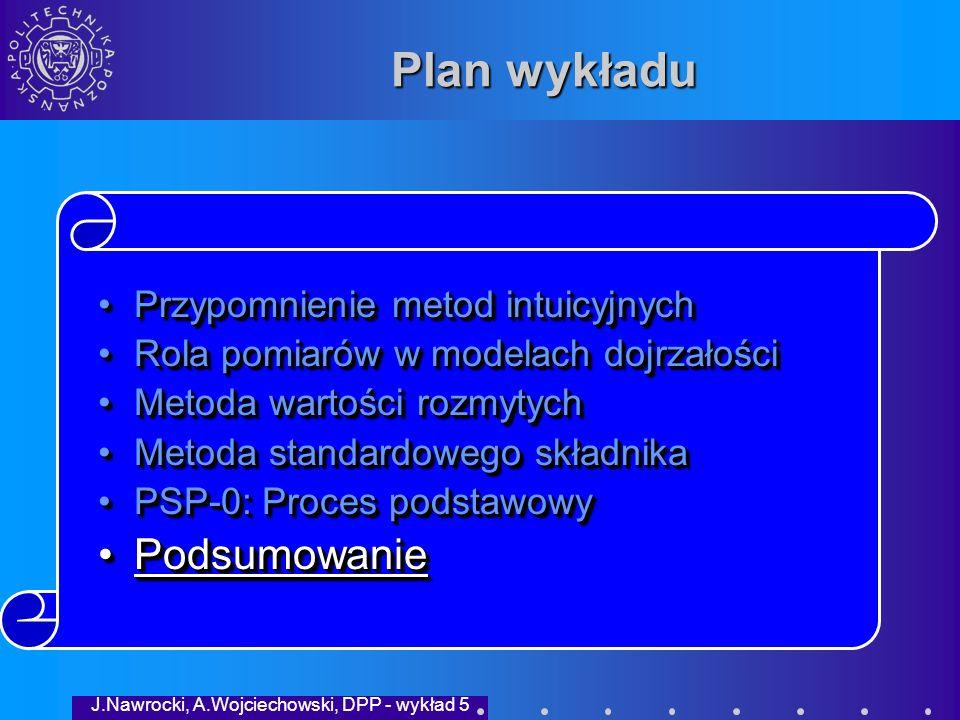 J.Nawrocki, A.Wojciechowski, DPP - wykład 5 Podsumowanie Warto zaczynać od metod intuicyjnychWarto zaczynać od metod intuicyjnych Dla wzrostu precyzji oszacowań niezbędne jest tworzenie bazy danychDla wzrostu precyzji oszacowań niezbędne jest tworzenie bazy danych –Pomiar czasu –Pomiar błędów Metody ilościowe zakładają możliwość odwołania do danych z wcześniej realizowanych projektówMetody ilościowe zakładają możliwość odwołania do danych z wcześniej realizowanych projektów –Metoda wartości rozmytych –Metoda standardowego składnika PSP-0 oferuje gotowe procedury i szablony dokumentów rejestracji postępówPSP-0 oferuje gotowe procedury i szablony dokumentów rejestracji postępów