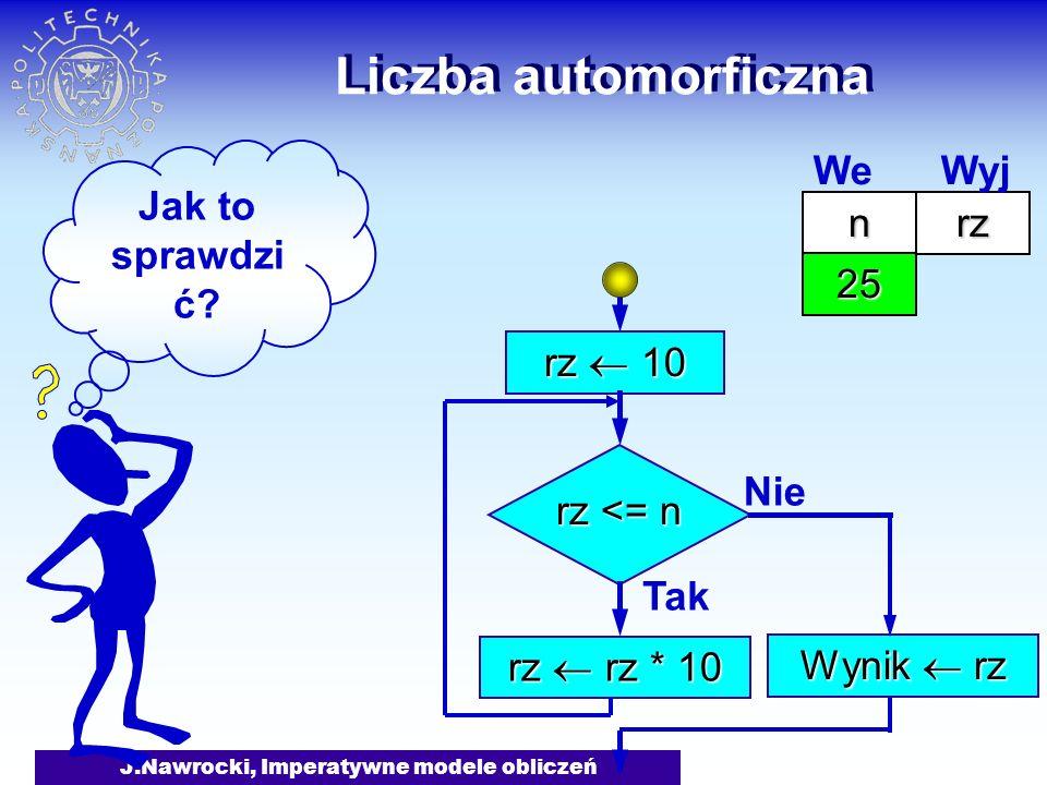J.Nawrocki, Imperatywne modele obliczeń Liczba automorficzna rz 10 rz <= n Tak rz rz * 10 Nie Wynik rz Jak to sprawdzi ć? nrz 25 We Wyj