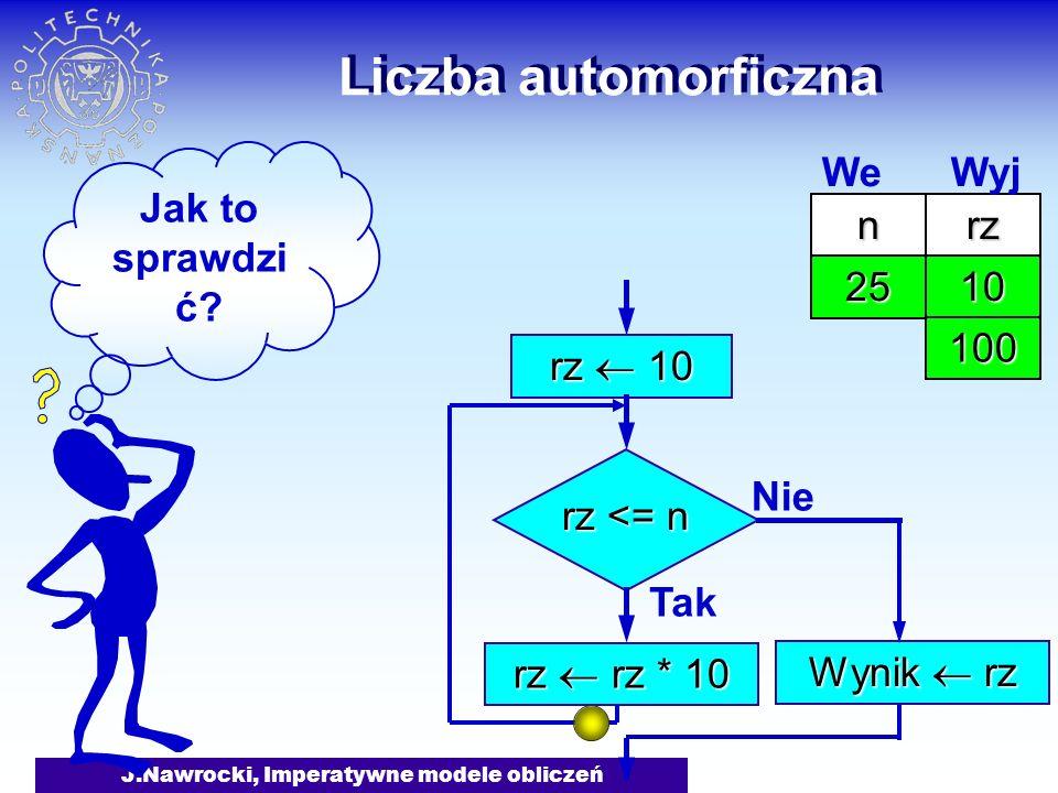 J.Nawrocki, Imperatywne modele obliczeń Liczba automorficzna rz 10 rz <= n Tak rz rz * 10 Nie Wynik rz Jak to sprawdzi ć? nrz 25 We Wyj 10 100