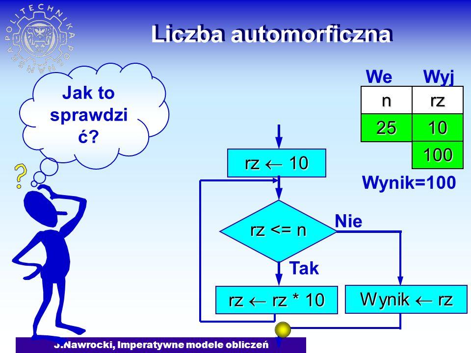 J.Nawrocki, Imperatywne modele obliczeń Liczba automorficzna rz 10 rz <= n Tak rz rz * 10 Nie Wynik rz nrz 25 We Wyj 10 100 Wynik=100 Jak to sprawdzi