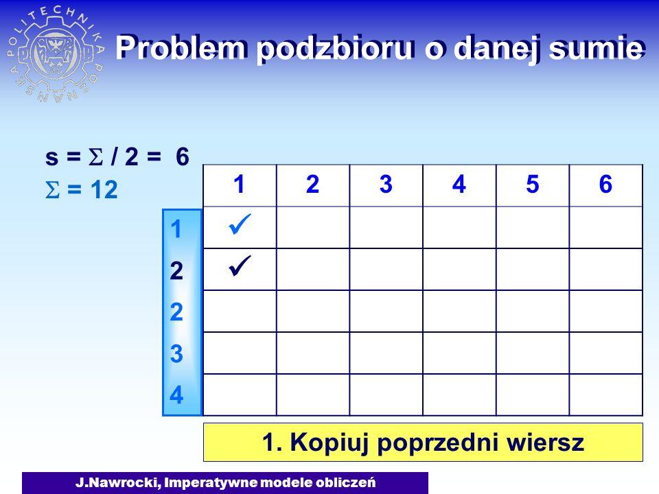 J.Nawrocki, Imperatywne modele obliczeń Problem podzbioru o danej sumie = 12 s = / 2 = 6 1223412234 123456 1. Kopiuj poprzedni wiersz