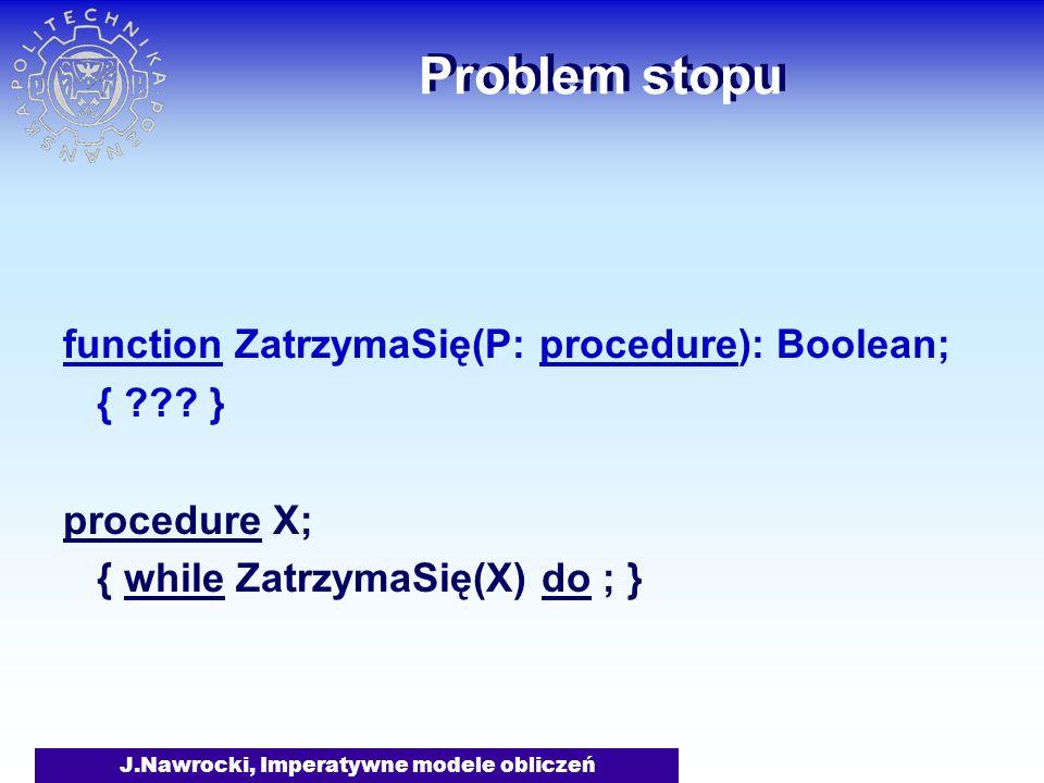 J.Nawrocki, Imperatywne modele obliczeń Problem stopu function ZatrzymaSię(P: procedure): Boolean; { ??? } procedure X; { while ZatrzymaSię(X) do ; }
