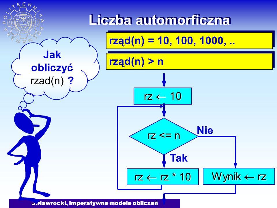 J.Nawrocki, Imperatywne modele obliczeń Liczba automorficzna Jak obliczyć rzad(n) ? rząd(n) = 10, 100, 1000,.. rząd(n) > n rz 10 rz <= n Tak rz rz * 1
