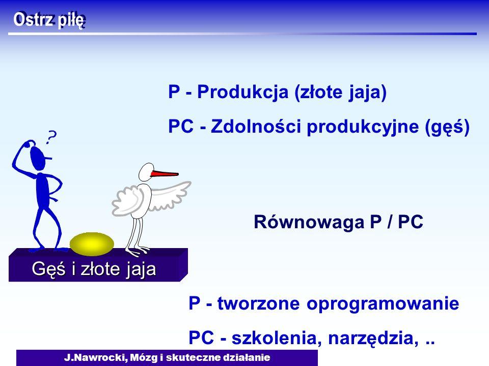 J.Nawrocki, Mózg i skuteczne działanie Gęś i złote jaja Ostrz piłę P - Produkcja (złote jaja) PC - Zdolności produkcyjne (gęś) Równowaga P / PC P - tw