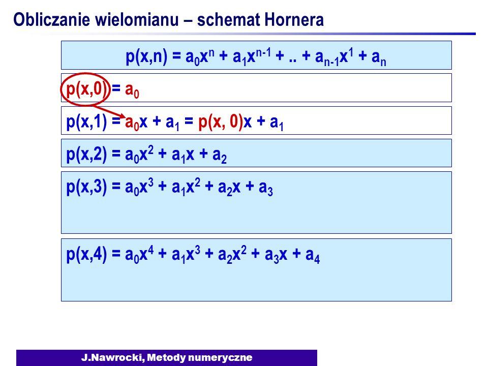 J.Nawrocki, Metody numeryczne Obliczanie wielomianu – schemat Hornera p(x,0) = a 0 p(x,1) = a 0 x + a 1 = p(x, 0)x + a 1 p(x,2) = a 0 x 2 + a 1 x + a 2 p(x,n) = a 0 x n + a 1 x n-1 +..