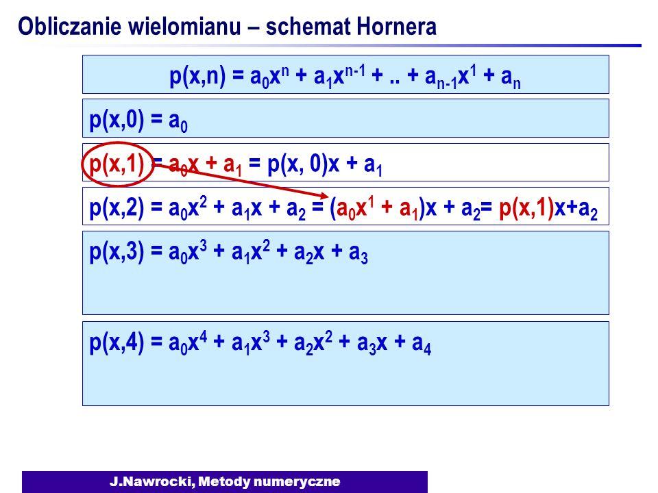 J.Nawrocki, Metody numeryczne Obliczanie wielomianu – schemat Hornera p(x,0) = a 0 p(x,1) = a 0 x + a 1 = p(x, 0)x + a 1 p(x,2) = a 0 x 2 + a 1 x + a 2 = (a 0 x 1 + a 1 )x + a 2 = p(x,1)x+a 2 p(x,n) = a 0 x n + a 1 x n-1 +..