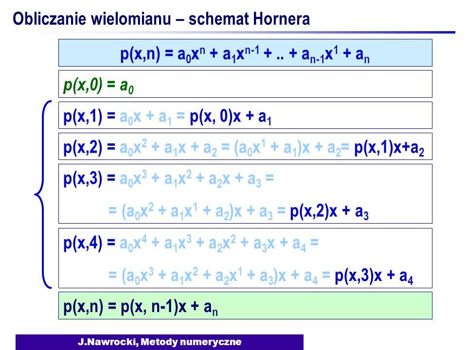 J.Nawrocki, Metody numeryczne Obliczanie wielomianu – schemat Hornera p(x,0) = a 0 p(x,1) = a 0 x + a 1 = p(x, 0)x + a 1 p(x,2) = a 0 x 2 + a 1 x + a 2 = (a 0 x 1 + a 1 )x + a 2 = p(x,1)x+a 2 p(x,3) = a 0 x 3 + a 1 x 2 + a 2 x + a 3 = = (a 0 x 2 + a 1 x 1 + a 2 )x + a 3 = p(x,2)x + a 3 p(x,4) = a 0 x 4 + a 1 x 3 + a 2 x 2 + a 3 x + a 4 = = (a 0 x 3 + a 1 x 2 + a 2 x 1 + a 3 )x + a 4 = p(x,3)x + a 4 p(x,n) = a 0 x n + a 1 x n-1 +..