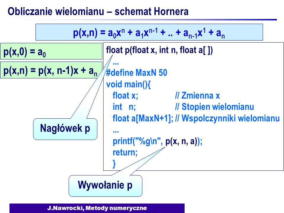 J.Nawrocki, Metody numeryczne Obliczanie wielomianu – schemat Hornera p(x,0) = a 0 p(x,n) = a 0 x n + a 1 x n-1 +..