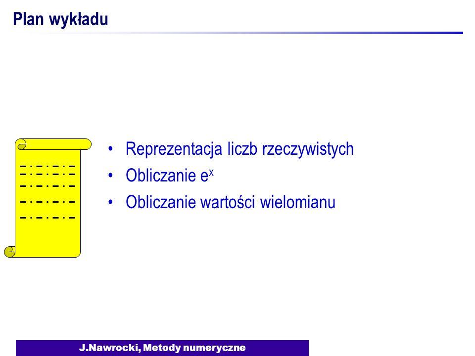 J.Nawrocki, Metody numeryczne Plan wykładu Reprezentacja liczb rzeczywistych Obliczanie e x Obliczanie wartości wielomianu