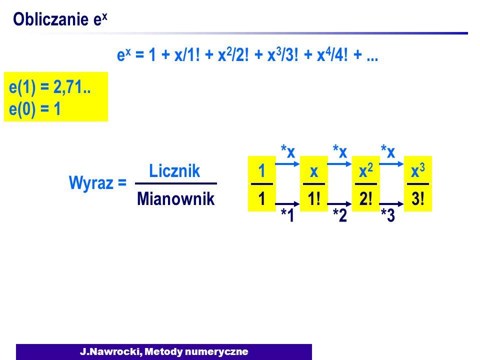 J.Nawrocki, Metody numeryczne Obliczanie e x e x = 1 + x/1.