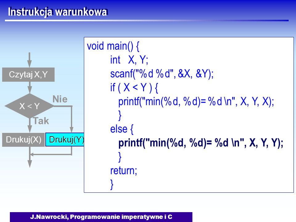 J.Nawrocki, Programowanie imperatywne i C Instrukcja warunkowa Czytaj X,Y X < Y Tak Drukuj(X) Nie Drukuj(Y) void main() { int X, Y; scanf( %d %d , &X, &Y); if ( X < Y ) { printf( min(%d, %d)= %d \n , X, Y, X); } else { printf( min(%d, %d)= %d \n , X, Y, Y); } return; }