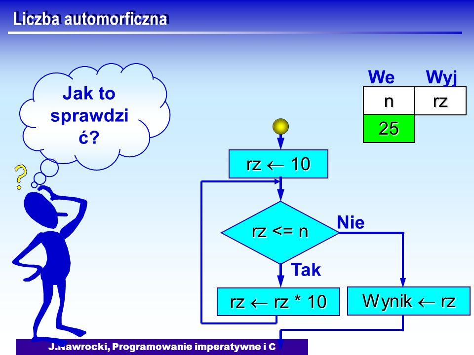 J.Nawrocki, Programowanie imperatywne i C Liczba automorficzna rz 10 rz <= n Tak rz rz * 10 Nie Wynik rz Jak to sprawdzi ć? nrz 25 We Wyj