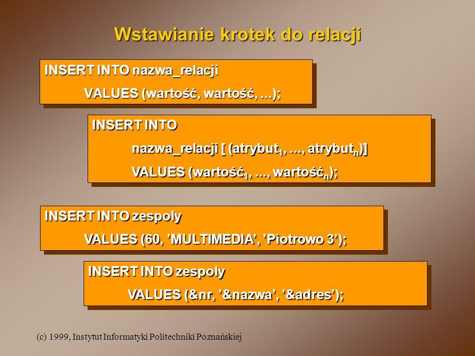 (c) 1999, Instytut Informatyki Politechniki Poznańskiej Wstawianie krotek do relacji INSERT INTO nazwa_relacji VALUES (wartość, wartość,...); INSERT INTO nazwa_relacji VALUES (wartość, wartość,...); INSERT INTO nazwa_relacji [ (atrybut 1,..., atrybut n )] VALUES (wartość 1,..., wartość n ); INSERT INTO nazwa_relacji [ (atrybut 1,..., atrybut n )] VALUES (wartość 1,..., wartość n ); INSERT INTO zespoly VALUES (60, MULTIMEDIA, Piotrowo 3); INSERT INTO zespoly VALUES (60, MULTIMEDIA, Piotrowo 3); INSERT INTO zespoly VALUES (&nr, &nazwa, &adres); INSERT INTO zespoly VALUES (&nr, &nazwa, &adres);