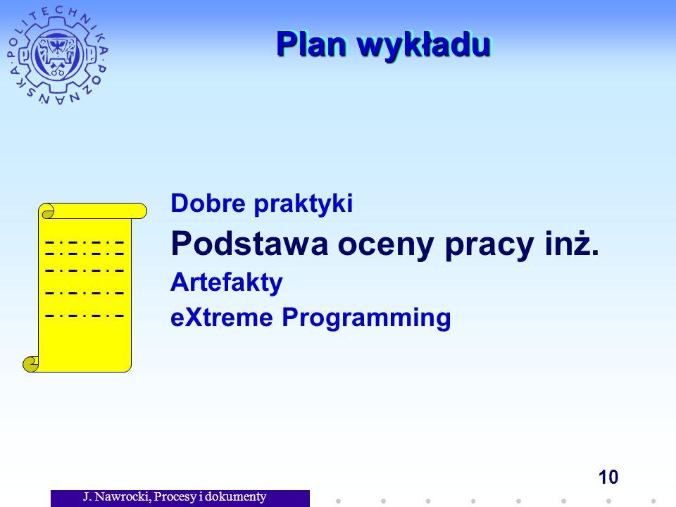 J. Nawrocki, Procesy i dokumenty 10 Plan wykładu Dobre praktyki Podstawa oceny pracy inż.