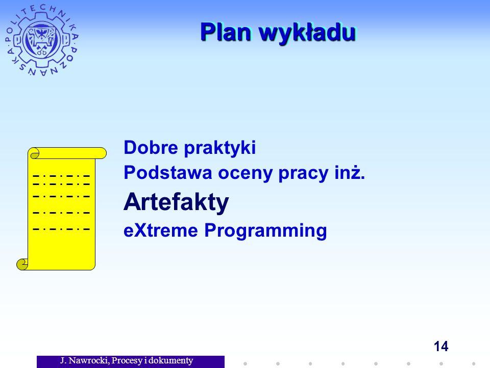 J. Nawrocki, Procesy i dokumenty 14 Plan wykładu Dobre praktyki Podstawa oceny pracy inż.