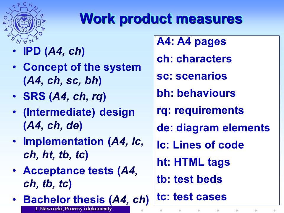J. Nawrocki, Procesy i dokumenty 18 Work product measures IPD (A4, ch) Concept of the system (A4, ch, sc, bh) SRS (A4, ch, rq) (Intermediate) design (