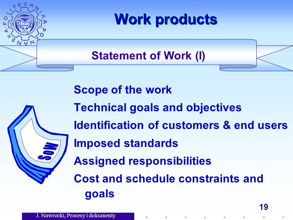 J. Nawrocki, Procesy i dokumenty 19 Work products Scope of the work Technical goals and objectives Identification of customers & end users Imposed sta