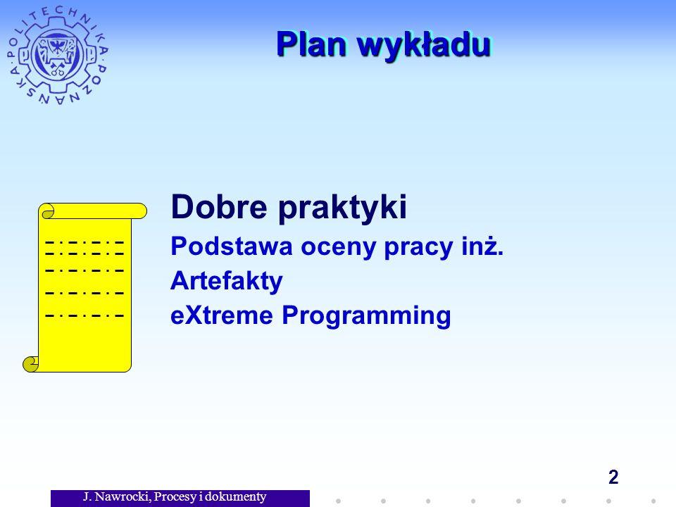 J. Nawrocki, Procesy i dokumenty 2 Plan wykładu Dobre praktyki Podstawa oceny pracy inż.