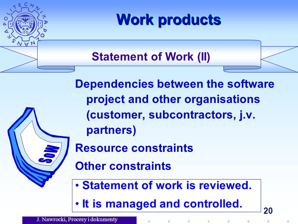 J. Nawrocki, Procesy i dokumenty 20 Work products Dependencies between the software project and other organisations (customer, subcontractors, j.v. pa