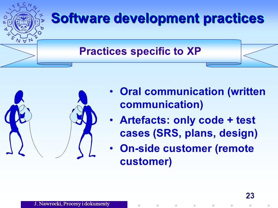 J. Nawrocki, Procesy i dokumenty 23 Software development practices Oral communication (written communication) Artefacts: only code + test cases (SRS,