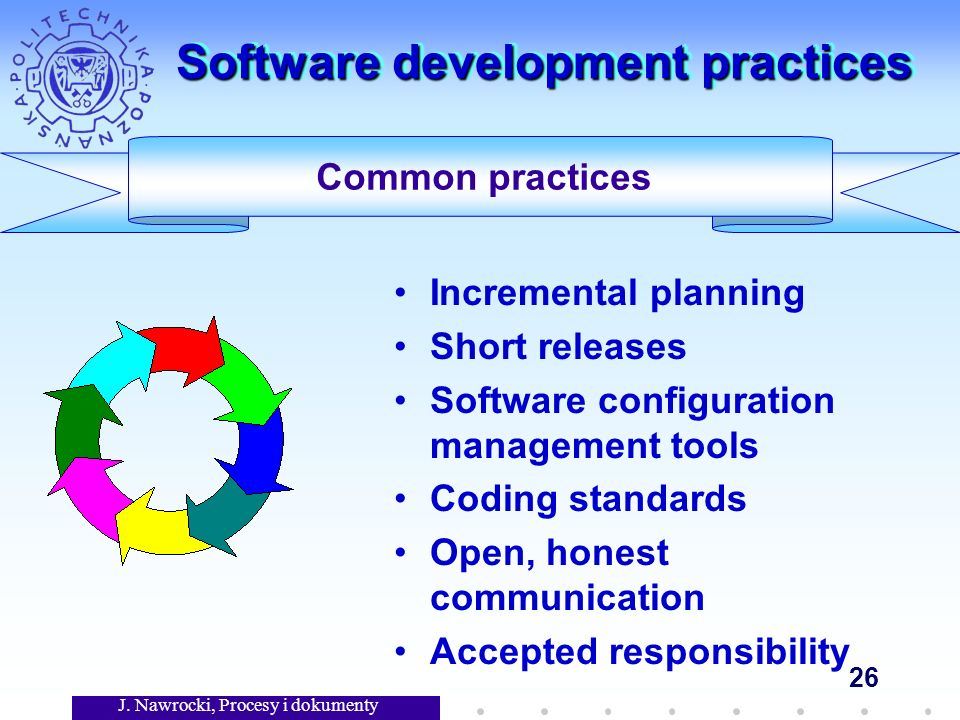 J. Nawrocki, Procesy i dokumenty 26 Software development practices Incremental planning Short releases Software configuration management tools Coding