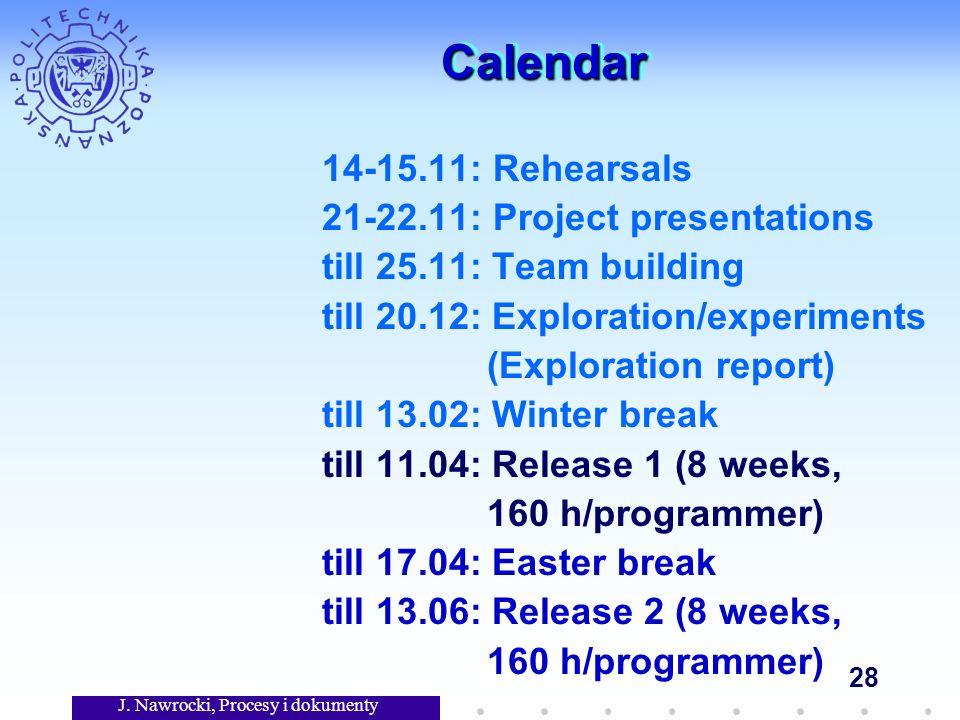 J. Nawrocki, Procesy i dokumenty 28 CalendarCalendar 14-15.11: Rehearsals 21-22.11: Project presentations till 25.11: Team building till 20.12: Explor