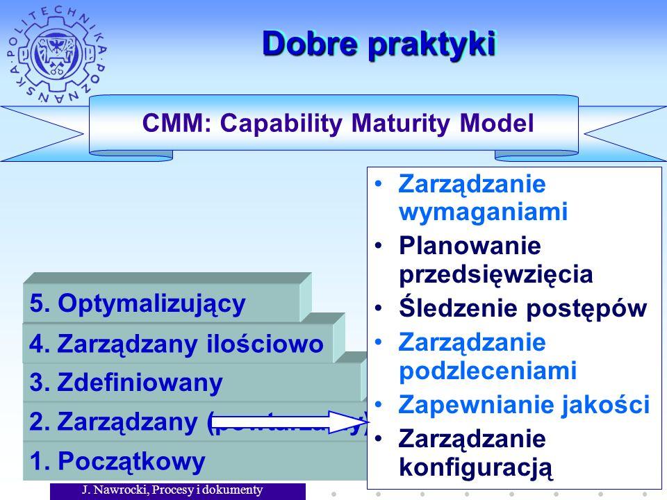 J. Nawrocki, Procesy i dokumenty 3 Dobre praktyki CMM: Capability Maturity Model 1.