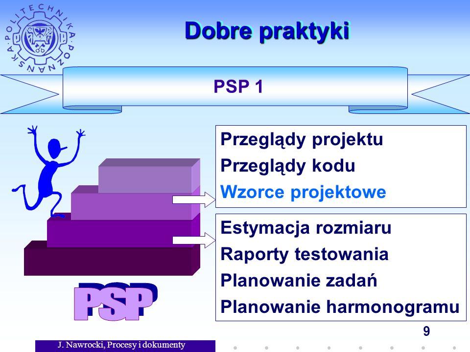 J. Nawrocki, Procesy i dokumenty 9 Dobre praktyki Estymacja rozmiaru Raporty testowania Planowanie zadań Planowanie harmonogramu PSP 1 Przeglądy proje