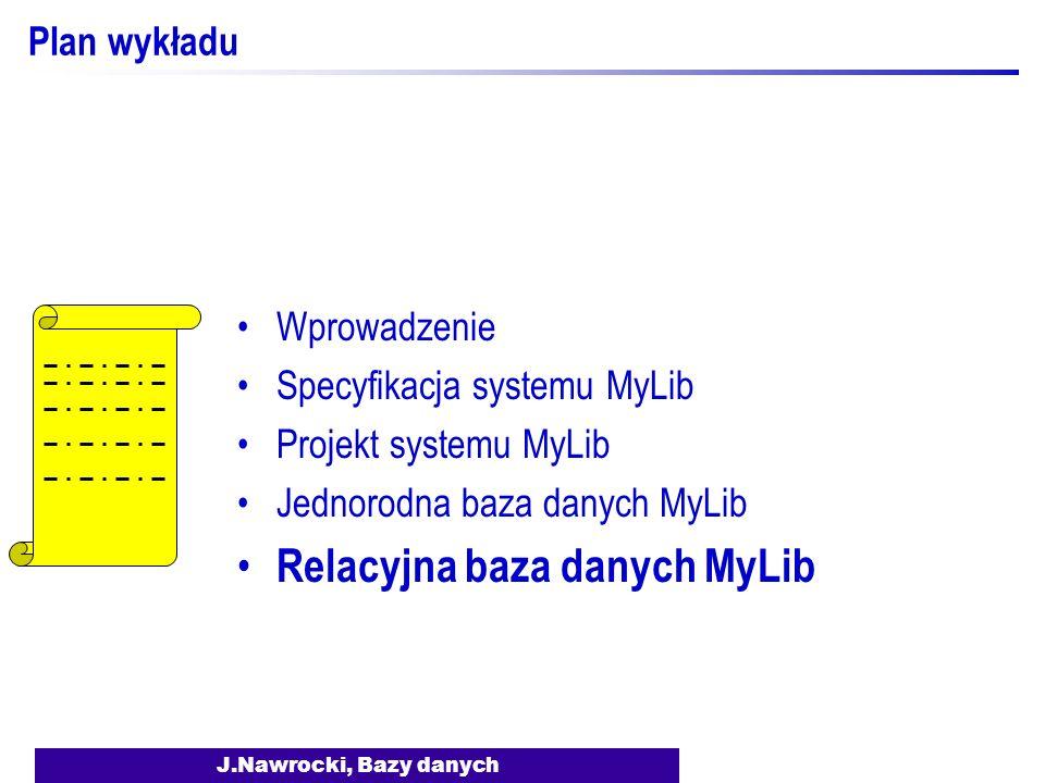 J.Nawrocki, Bazy danych Plan wykładu Wprowadzenie Specyfikacja systemu MyLib Projekt systemu MyLib Jednorodna baza danych MyLib Relacyjna baza danych