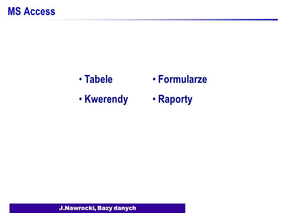 J.Nawrocki, Bazy danych MS Access Tabele Kwerendy Formularze Raporty