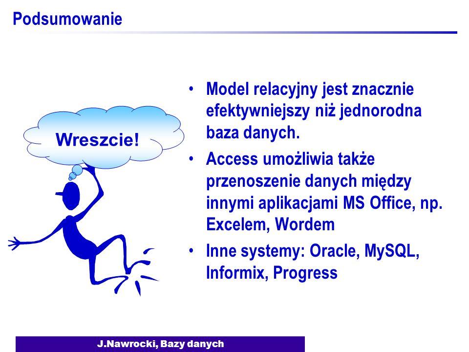 J.Nawrocki, Bazy danych Podsumowanie Model relacyjny jest znacznie efektywniejszy niż jednorodna baza danych. Access umożliwia także przenoszenie dany