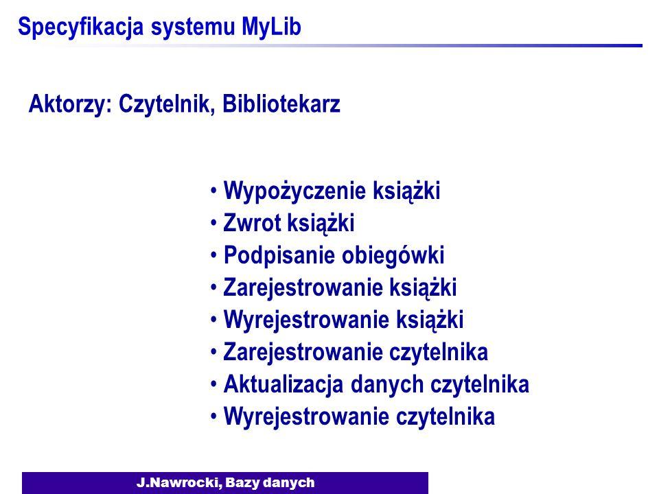 J.Nawrocki, Bazy danych Specyfikacja systemu MyLib Wypożyczenie książki Zwrot książki Podpisanie obiegówki Zarejestrowanie książki Wyrejestrowanie ksi
