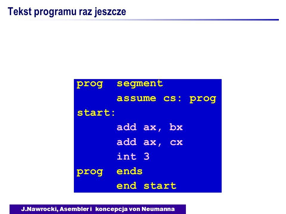 J.Nawrocki, Asembler i koncepcja von Neumanna Tekst programu raz jeszcze prog segment assume cs: prog start: add ax, bx add ax, cx int 3 prog ends end
