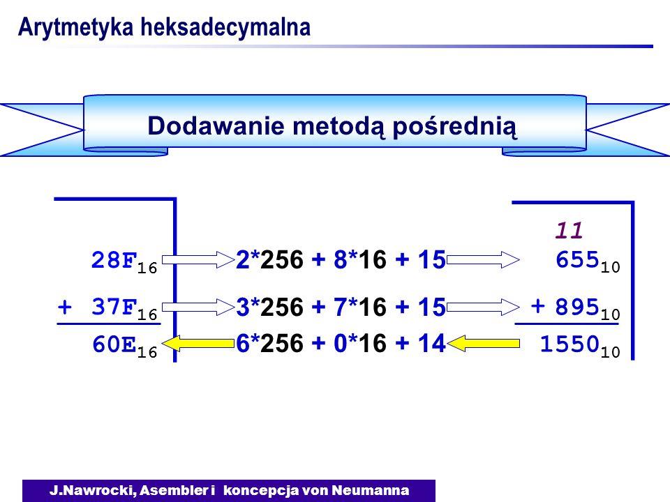 J.Nawrocki, Asembler i koncepcja von Neumanna Arytmetyka heksadecymalna Dodawanie metodą pośrednią 28F 16 + 37F 16 28F 16 + 37F 16 + + 1550 10 11 2*256 + 8*16 + 15 3*256 + 7*16 + 15 655 10 895 10 6*256 + 0*16 + 14 60E 16
