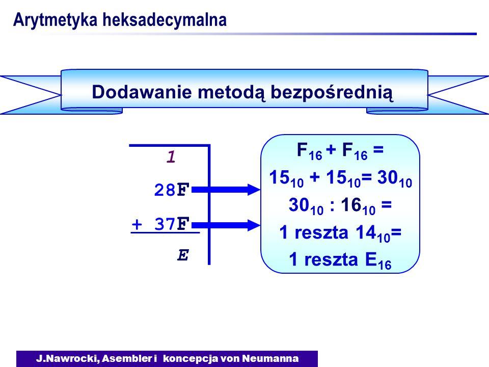J.Nawrocki, Asembler i koncepcja von Neumanna Arytmetyka heksadecymalna Dodawanie metodą bezpośrednią 1 28 F + 37 F E 1 28 F + 37 F E F 16 + F 16 = 15