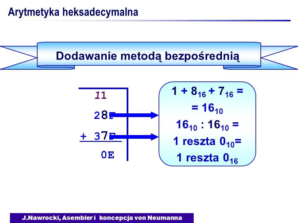 J.Nawrocki, Asembler i koncepcja von Neumanna Arytmetyka heksadecymalna Dodawanie metodą bezpośrednią 11 2 8 F + 3 7 F 0E 11 2 8 F + 3 7 F 0E 1 + 8 16 + 7 16 = = 16 10 16 10 : 16 10 = 1 reszta 0 10 = 1 reszta 0 16