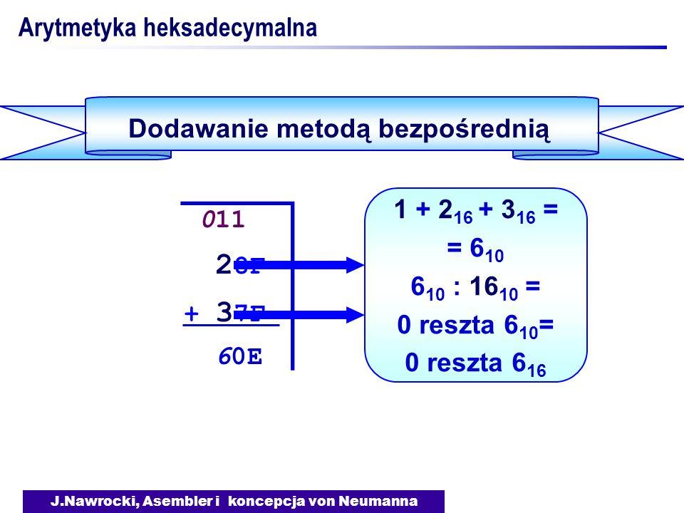 J.Nawrocki, Asembler i koncepcja von Neumanna Arytmetyka heksadecymalna Dodawanie metodą bezpośrednią 011 2 8F + 3 7F 60E 011 2 8F + 3 7F 60E 1 + 2 16