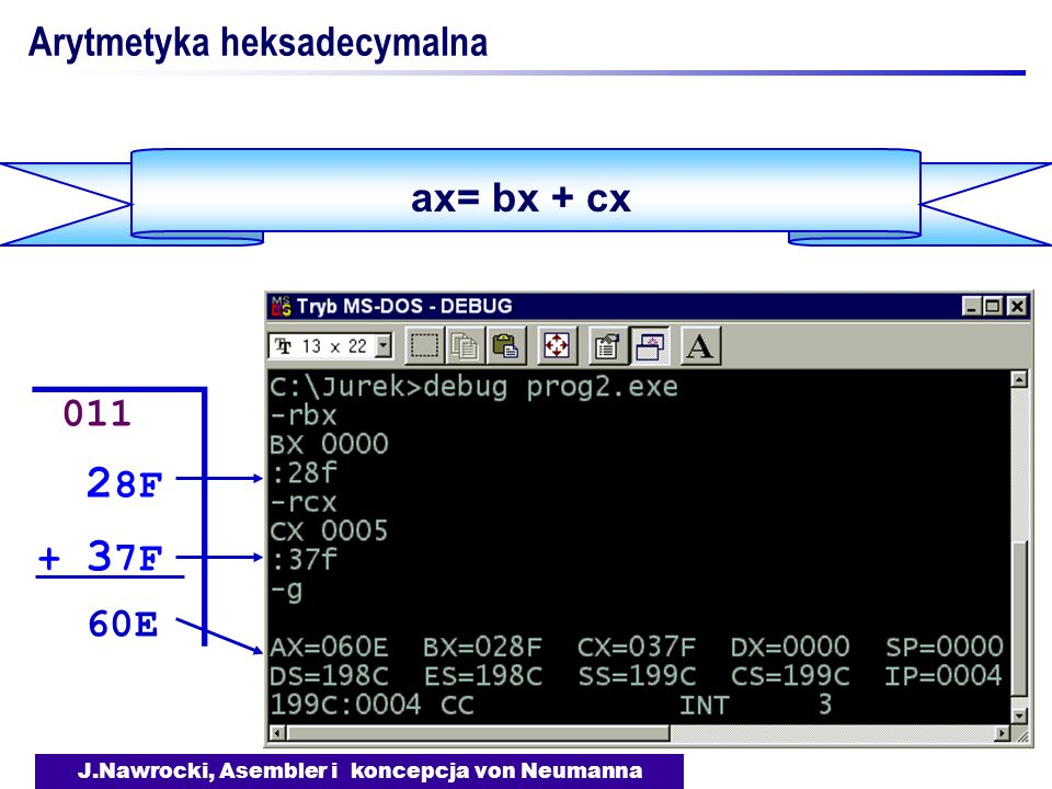 J.Nawrocki, Asembler i koncepcja von Neumanna Arytmetyka heksadecymalna ax= bx + cx 011 2 8F + 3 7F 60E 011 2 8F + 3 7F 60E
