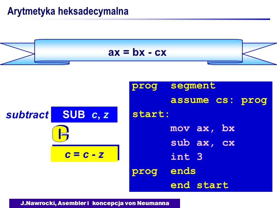 J.Nawrocki, Asembler i koncepcja von Neumanna ax = bx - cx Arytmetyka heksadecymalna c = c - z SUB c, z subtract prog segment assume cs: prog start: m