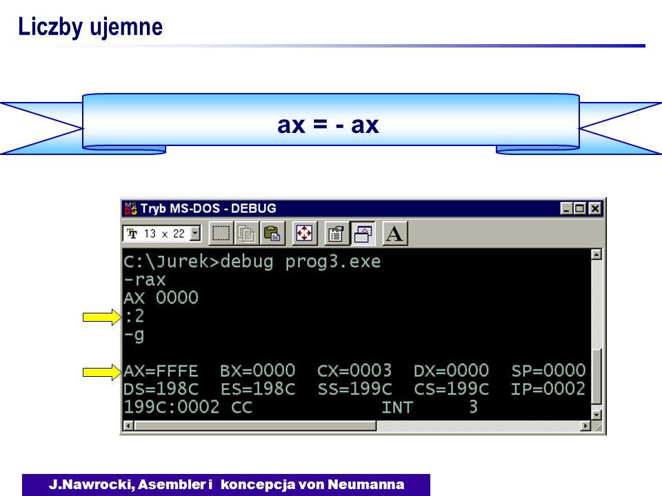 J.Nawrocki, Asembler i koncepcja von Neumanna ax = - ax Liczby ujemne