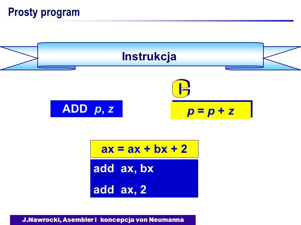 J.Nawrocki, Asembler i koncepcja von Neumanna DEBUG - przykład sesji Wynik - rax AX 0000 1 - rbx BX 0000 2 - rcx CX 0005 3 : : : - g AX=0006 BX=0002 CX=0003 DX=0000 SP=0000 DS=198C ES=198C SS=199C CS=199C IP=0004 199C:0004 CC INT 3 - q Nast.
