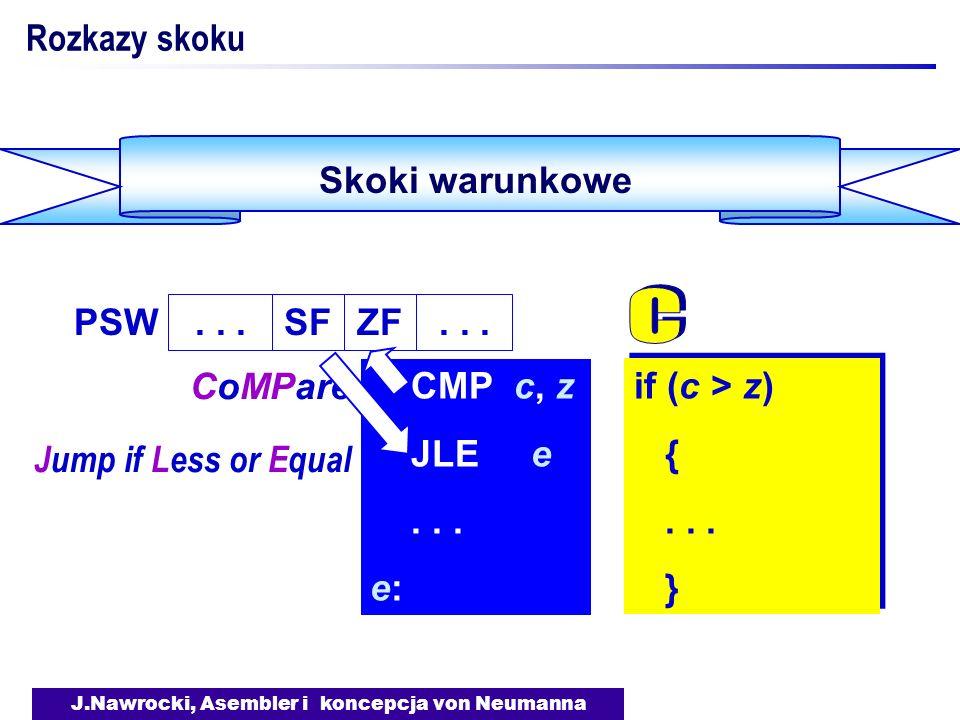 J.Nawrocki, Asembler i koncepcja von Neumanna Skoki warunkowe Rozkazy skoku if (c > z) {... } if (c > z) {... } CMP c, z JLE e... e: CoMPare Jump if L