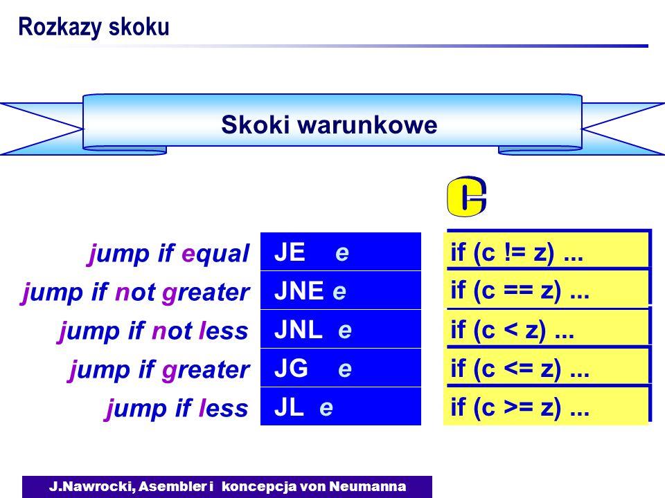 J.Nawrocki, Asembler i koncepcja von Neumanna Skoki warunkowe Rozkazy skoku JE e jump if equal if (c != z)... JNL e jump if not less if (c < z)... JG