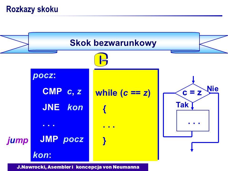 J.Nawrocki, Asembler i koncepcja von Neumanna Skok bezwarunkowy Rozkazy skoku while (c == z) {... } while (c == z) {... } pocz: CMP c, z JNE kon... JM