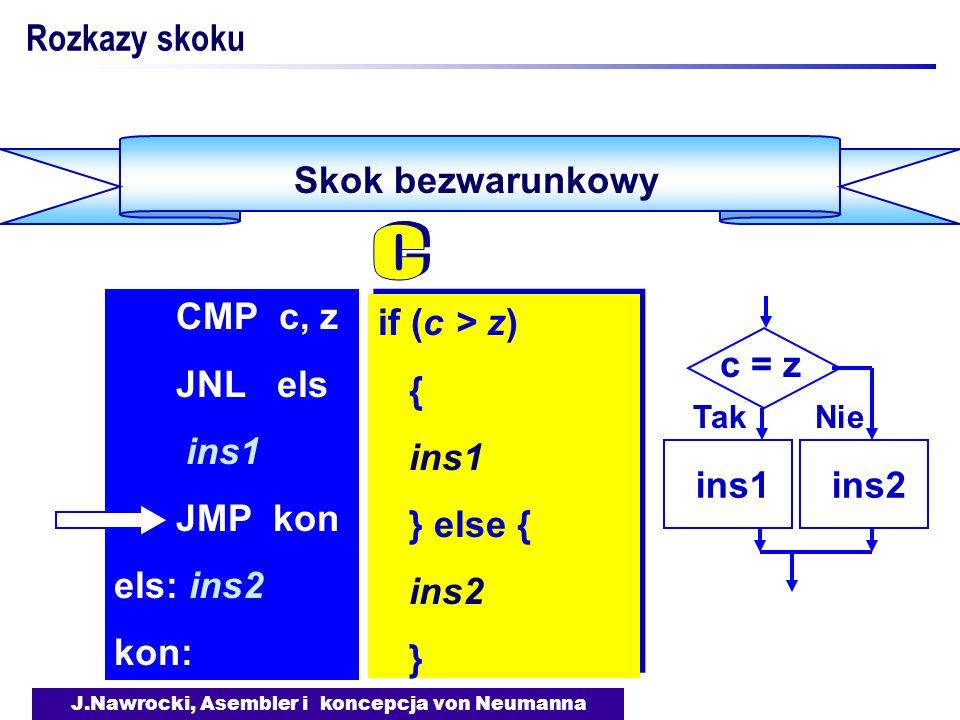 J.Nawrocki, Asembler i koncepcja von Neumanna Skok bezwarunkowy Rozkazy skoku if (c > z) { ins1 } else { ins2 } if (c > z) { ins1 } else { ins2 } CMP