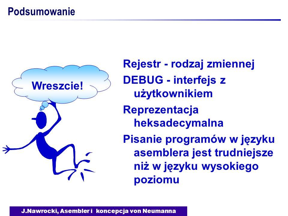 J.Nawrocki, Asembler i koncepcja von Neumanna Podsumowanie Rejestr - rodzaj zmiennej DEBUG - interfejs z użytkownikiem Reprezentacja heksadecymalna Pi