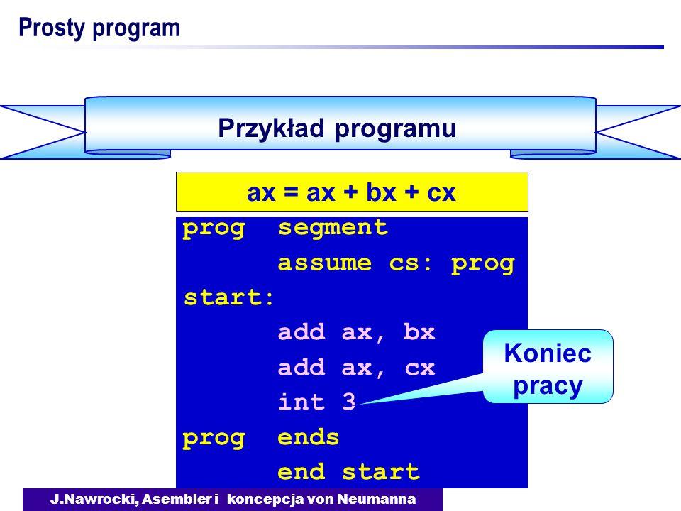 J.Nawrocki, Asembler i koncepcja von Neumanna Prosty program Przykład programu prog segment assume cs: prog start: add ax, bx add ax, cx int 3 prog en