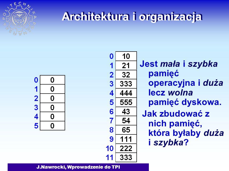 J.Nawrocki, Wprowadzenie do TPI Architektura i organizacja Jest mała i szybka pamięć operacyjna i duża lecz wolna pamięć dyskowa.
